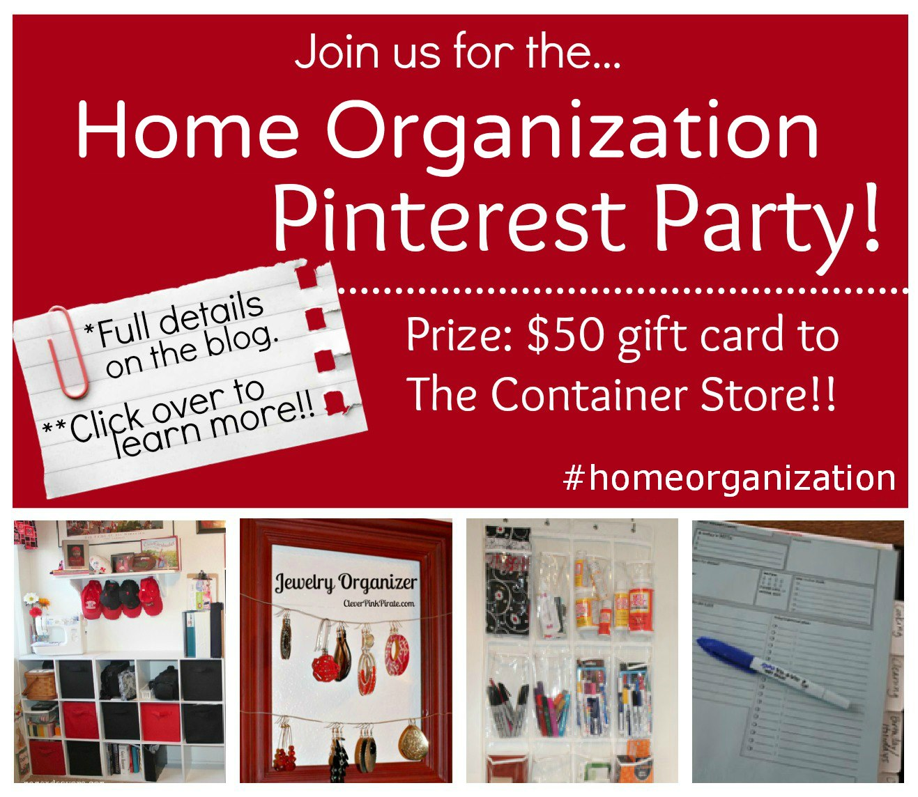 Join us for lots of Organization, Pinterest Party style #homeorganization #giveaway