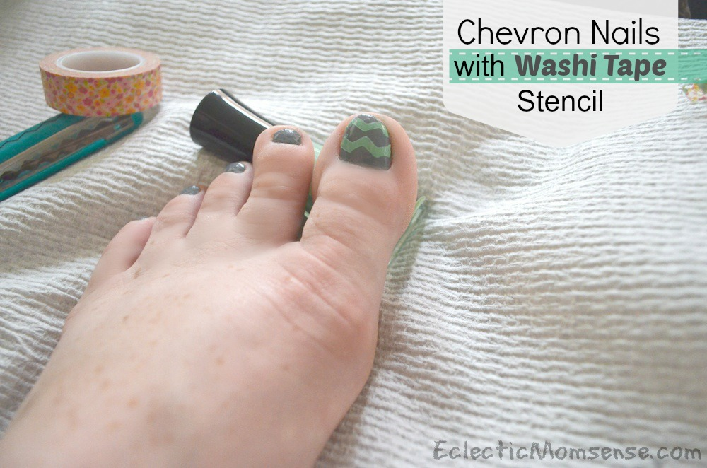 Chevron Nails with Washi Tape Stencil- Eclectic Momsense