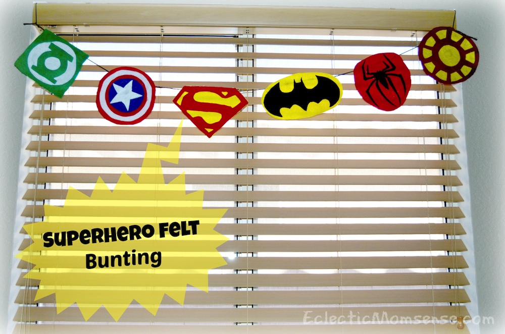 Inexpensive superhero party and room decor- Felt Superhero Bunting