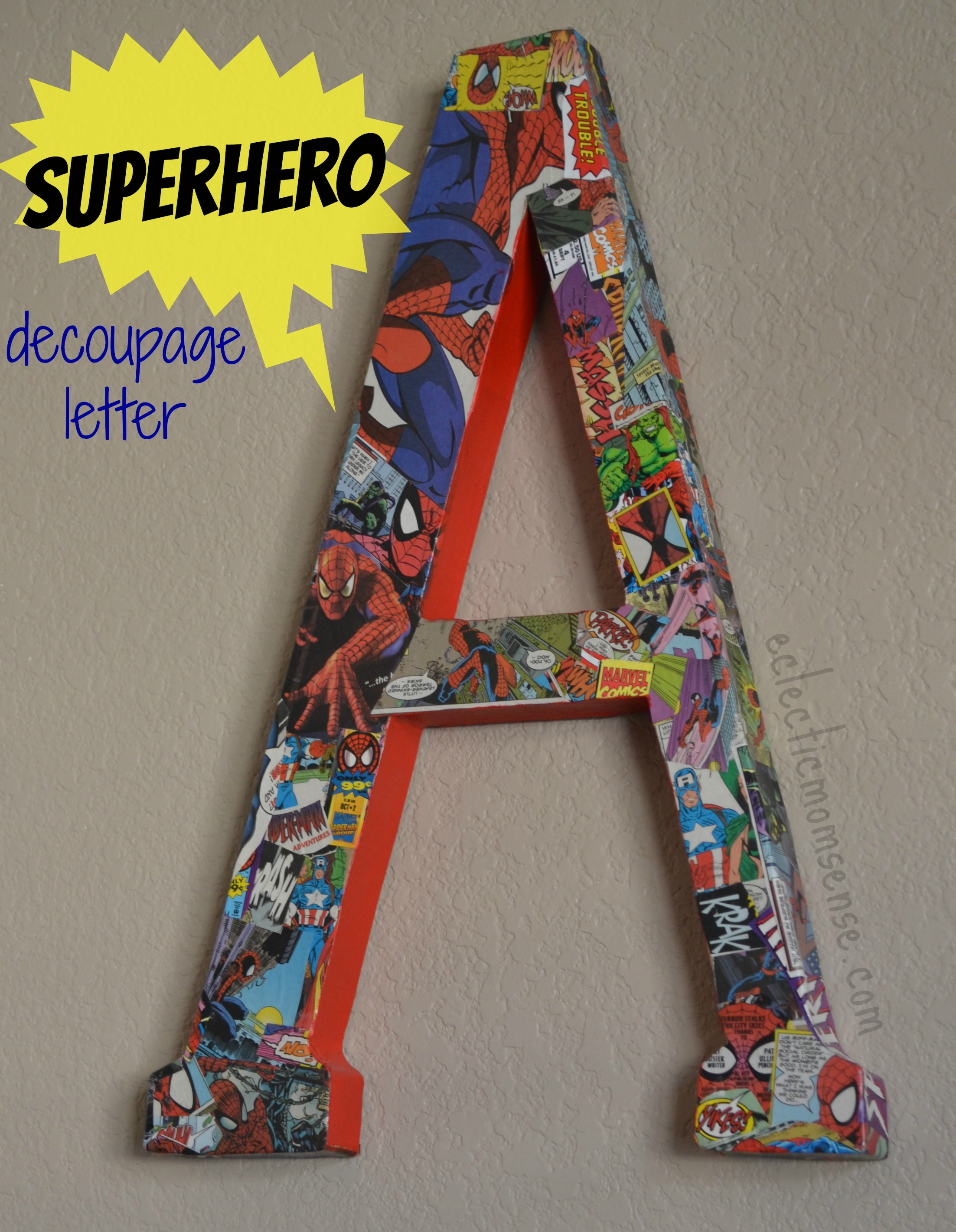 comic book decoupage letter