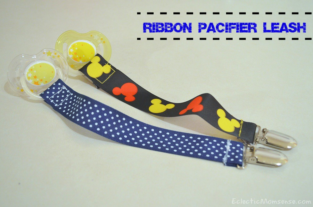 Keep those paci's off the floor with a handmade ribbon paci leash- Eclectic Momsense