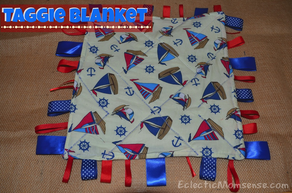 Handmade Baby Shower Gift: taggie blanket- Eclectic Momsense