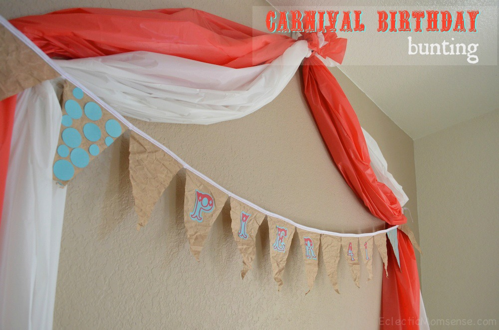 carnival birthday bunting using recycled materials #craft #upcycled #birthday #recycled #boardwalk #vintage