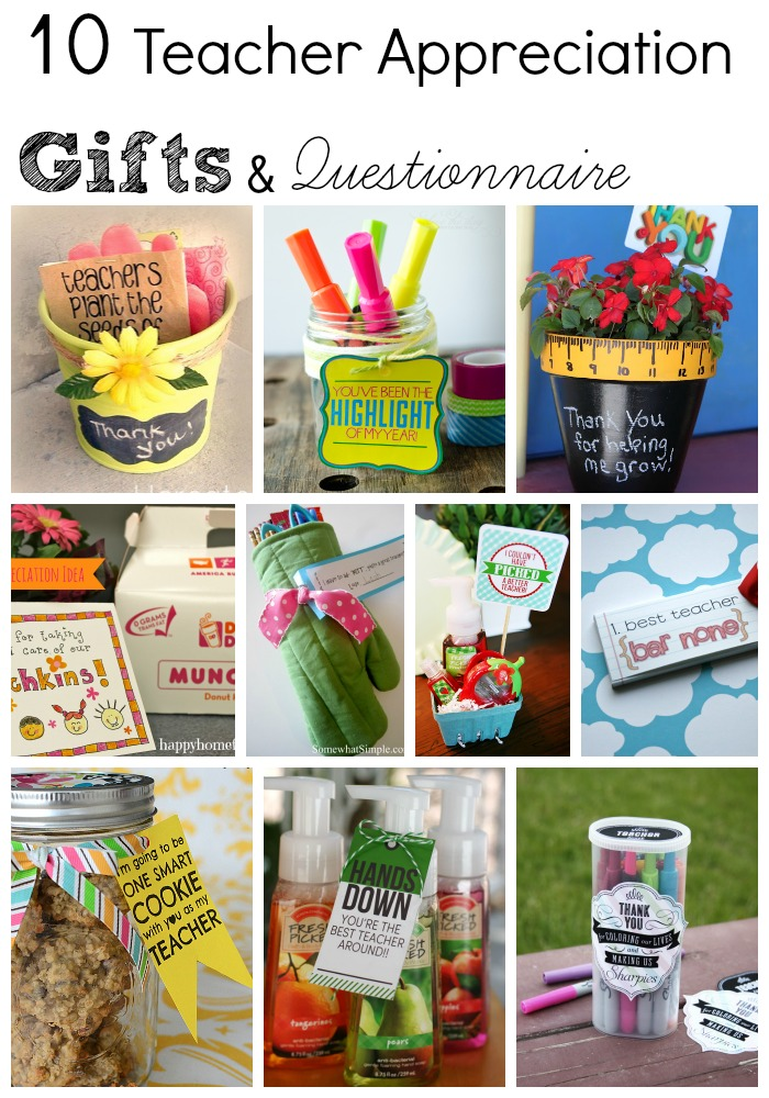 Classroom Ideas For Teacher Appreciation Week ~ Teacher appreciation week questionnaire gift ideas