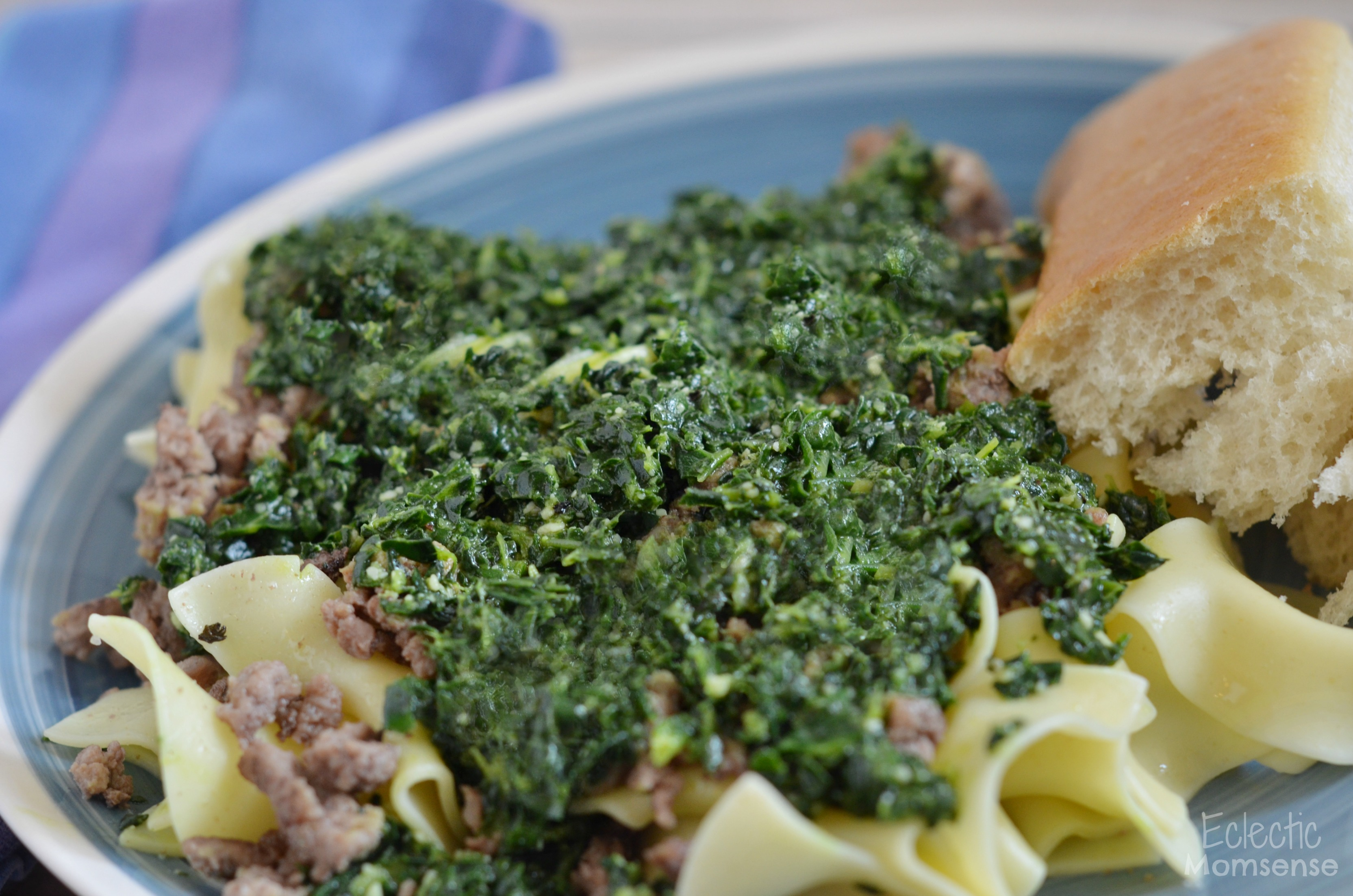Kale Pesto with Beef Noodles