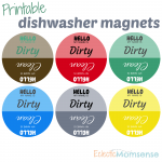 Printable Dirty or Clean Dishwasher Magnet