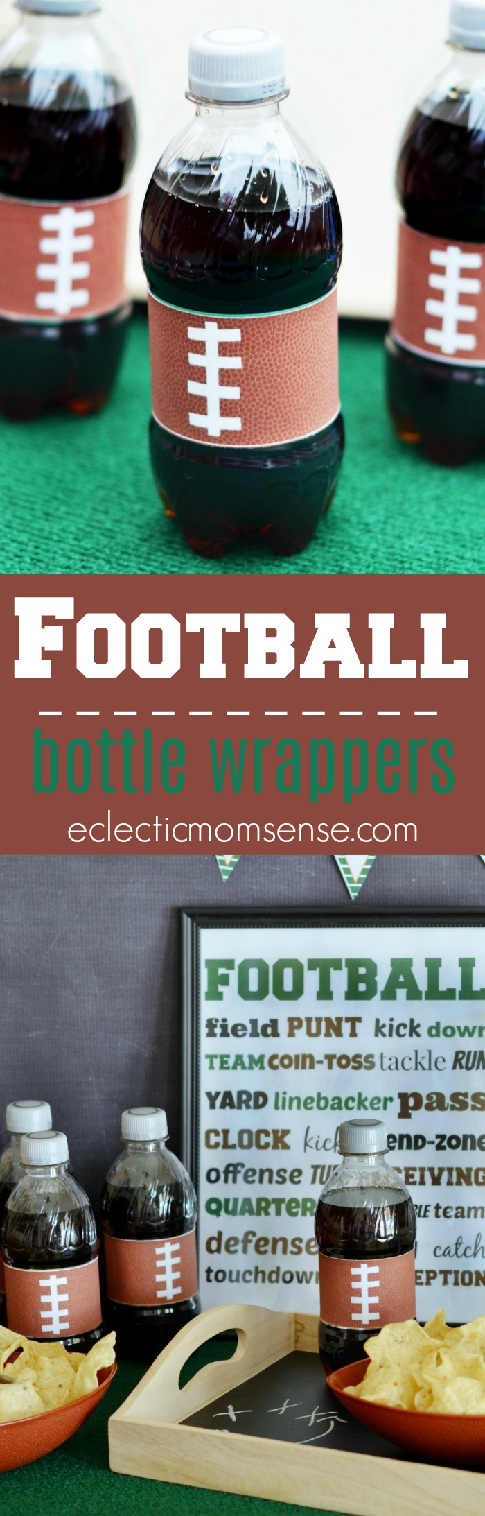 Printable Football Bottle Wrappers | Fun and easy way to dress up bottles for all your football entertaining.  PLUS 9 other Tailgating ideas.