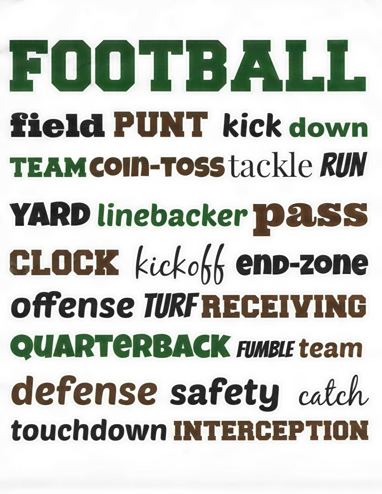 Football Subway Art printable  Eclectic Momsense