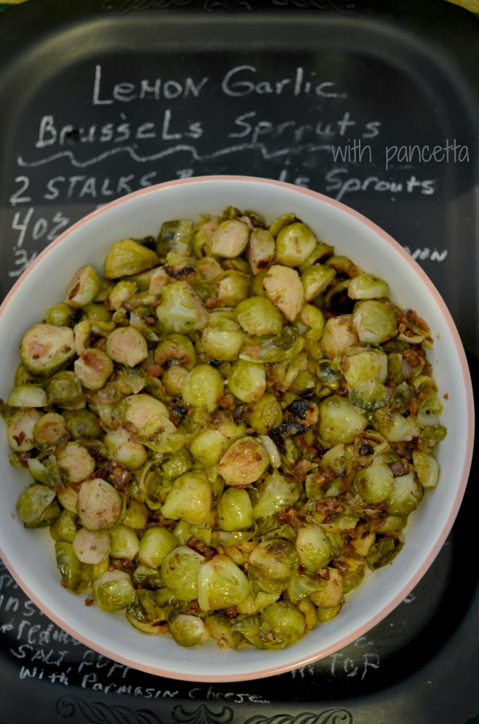Lemon Herb Brussels Sprouts with Pancetta #recipe #sidedish