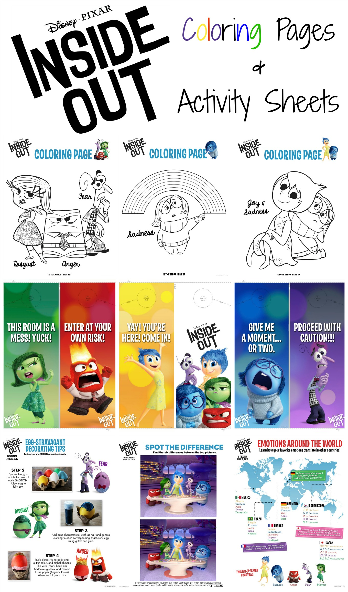 Disney Pixar Inside Out Activity Sheets Eclectic Momsense