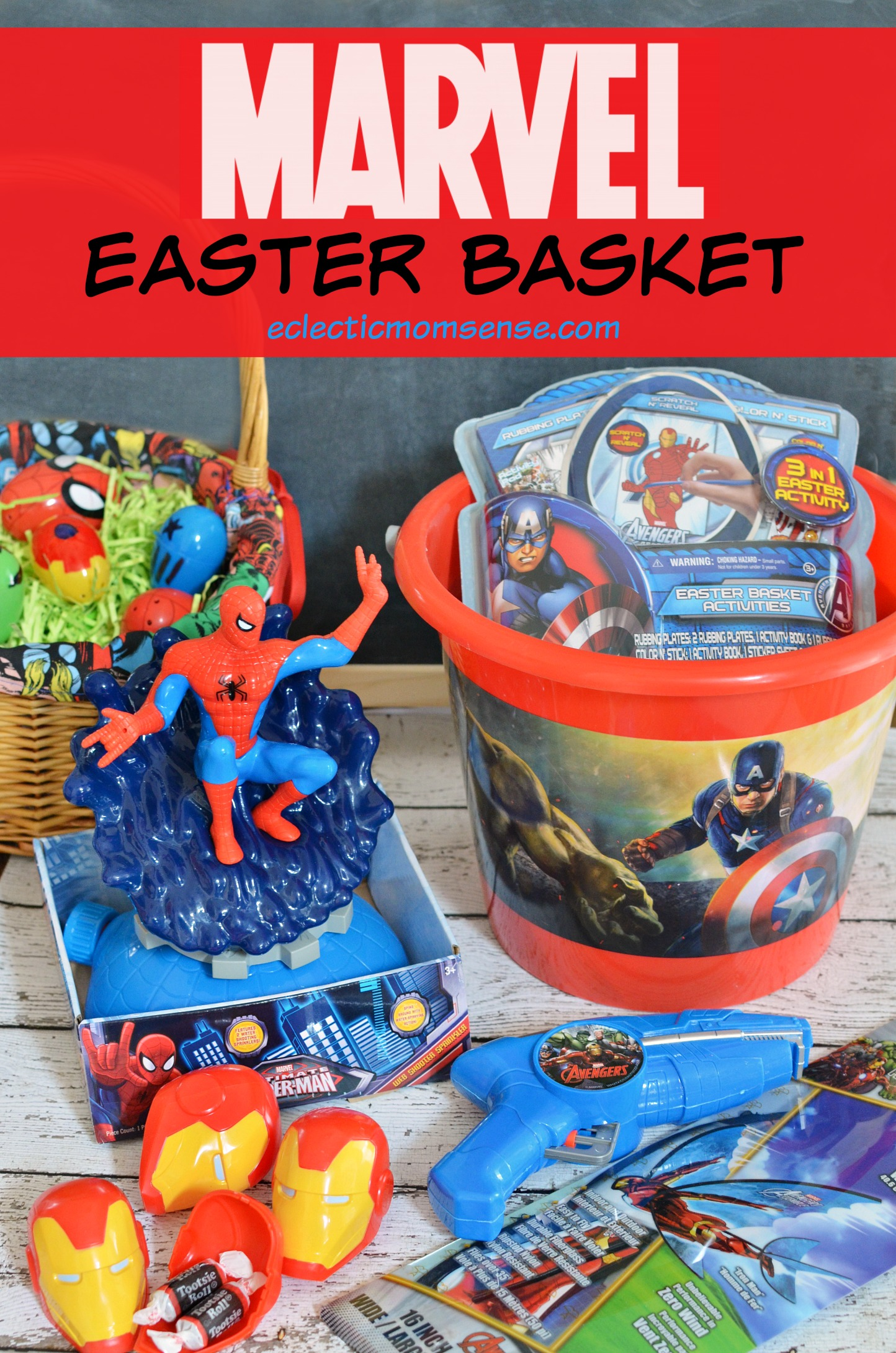 Marvel easter basket and diy avengers fillable eggs eclectic marvel easter basket disneyeaster ad negle Image collections