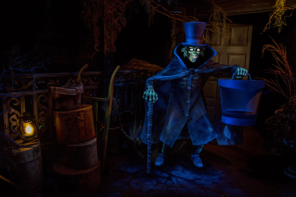 The Hatbox Ghost reappears in the Haunted Mansion at Disneyland Park in Anaheim, Calif. This legendary figure briefly materialized around the opening of the attraction in 1969 and has found a new home looming over guests as they enter the cemetery. #Disneyland60