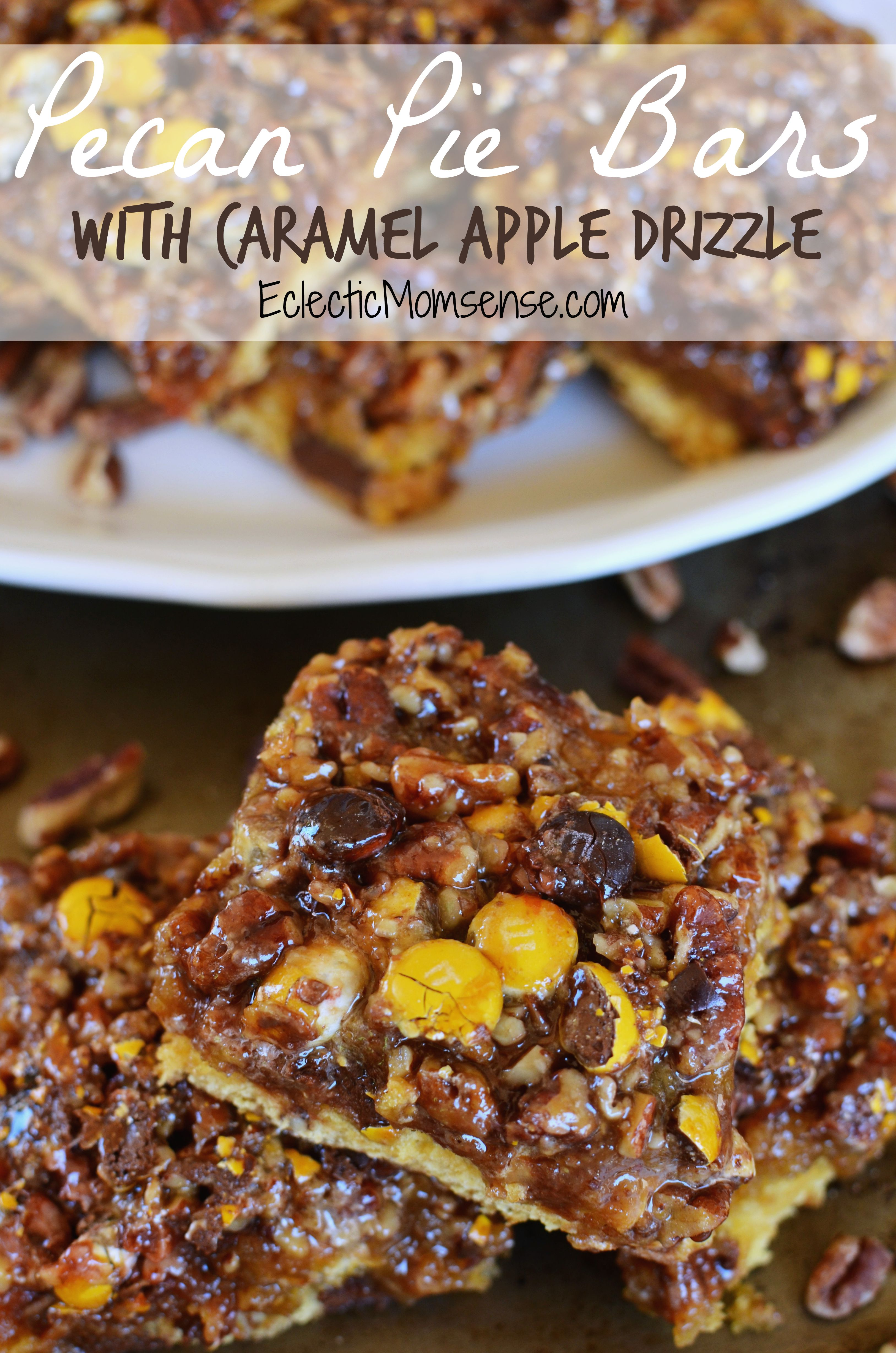 Pecan Pie Bars with Caramel Apple Drizzle - Eclectic Momsense