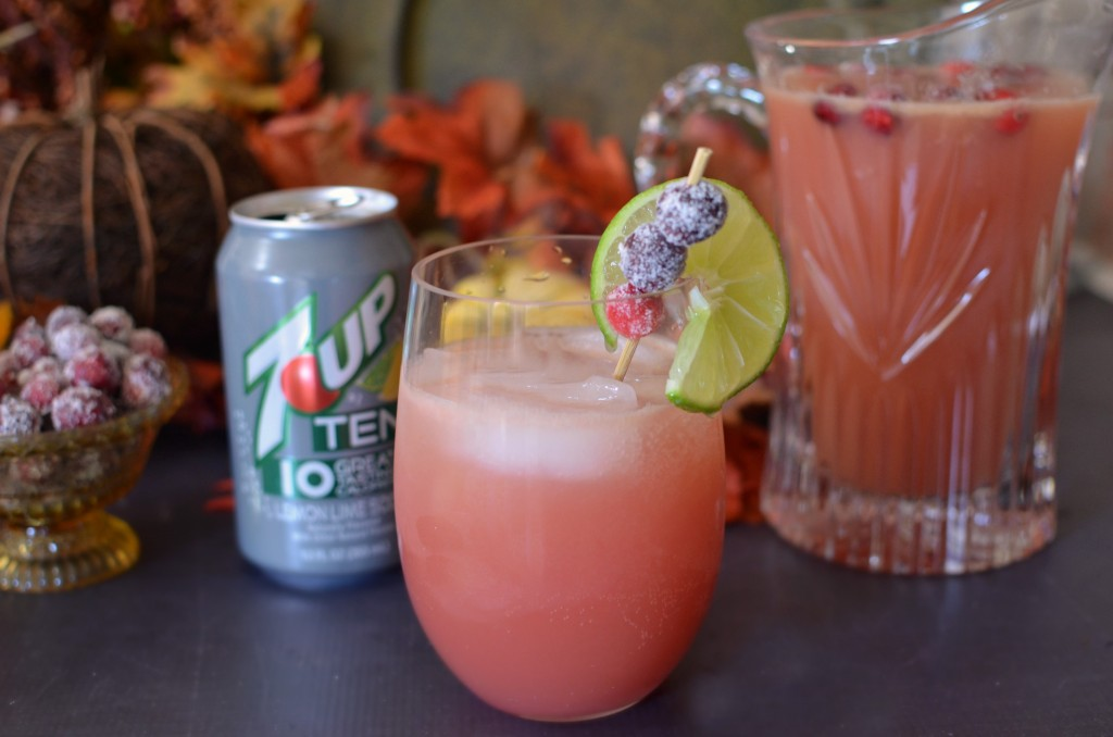 Thanksgiving Punch with Candied Cranberries. #PassTheTEN adThanksgiving Punch with Candied Cranberries. #PassTheTEN ad
