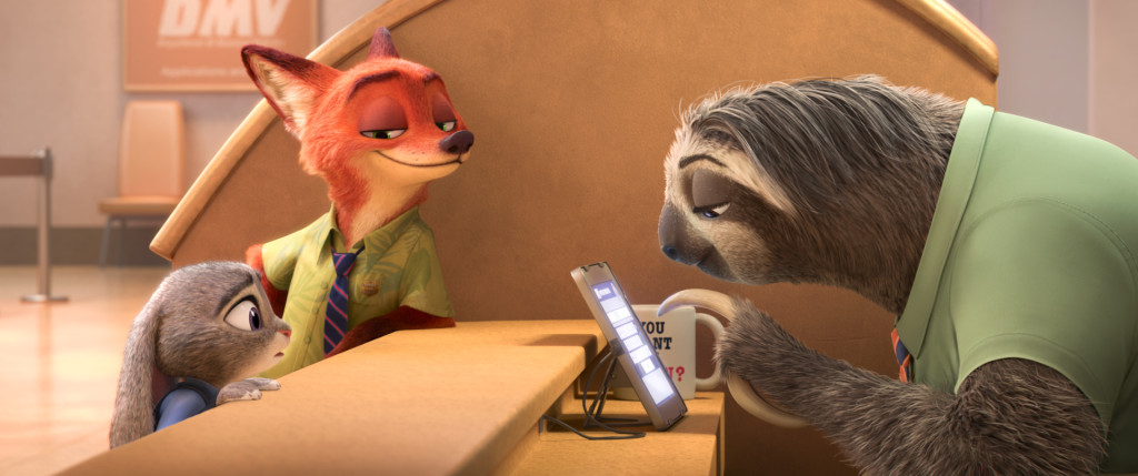 "ZOOTOPIA – FLASH, THE FASTEST SLOTH AT THE DMV -- When rookie rabbit officer Judy Hopps (voice of Ginnifer Goodwin) has only 48 hours to crack her first case, she turns to scam-artist fox Nick Wilde for help, but he doesn't always have her best interests at heart. Their investigation takes them to the local DMV (Department of Mammal Vehicles), which is staffed entirely by sloths. Directed by Byron Howard and Rich Moore, and produced by Clark Spencer, Walt Disney Animation Studios' ""Zootopia"" opens in U.S. theaters on March 4, 2016. ©2015 Disney. All Rights Reserved."