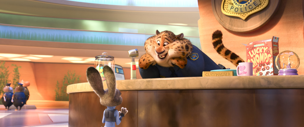ZOOTOPIA – Pictured (L-R): Judy Hopps & Clawhauser. ©2016 Disney. All Rights Reserved.