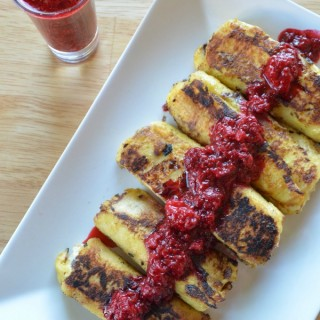 Cannoli Stuffed French Toast with Warm Raspberry Compote. #MySignatureDish -ad
