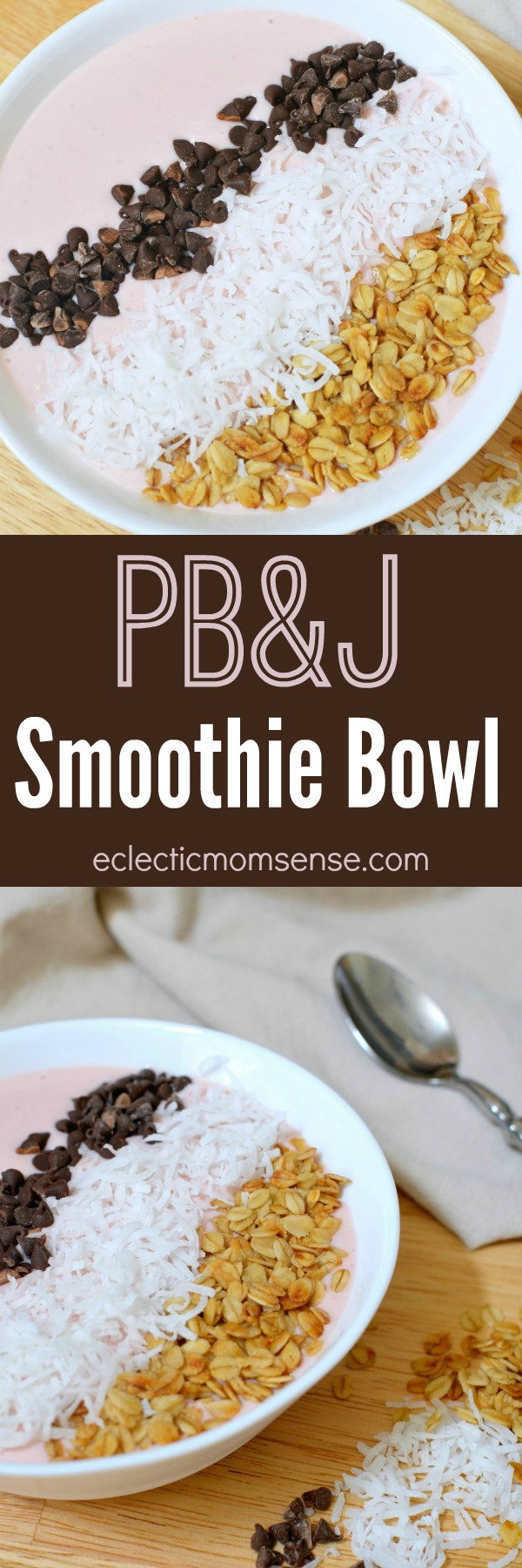PB&J Smoothie Bowl. Creamy peanut butter with a hint of fruity sweetness.