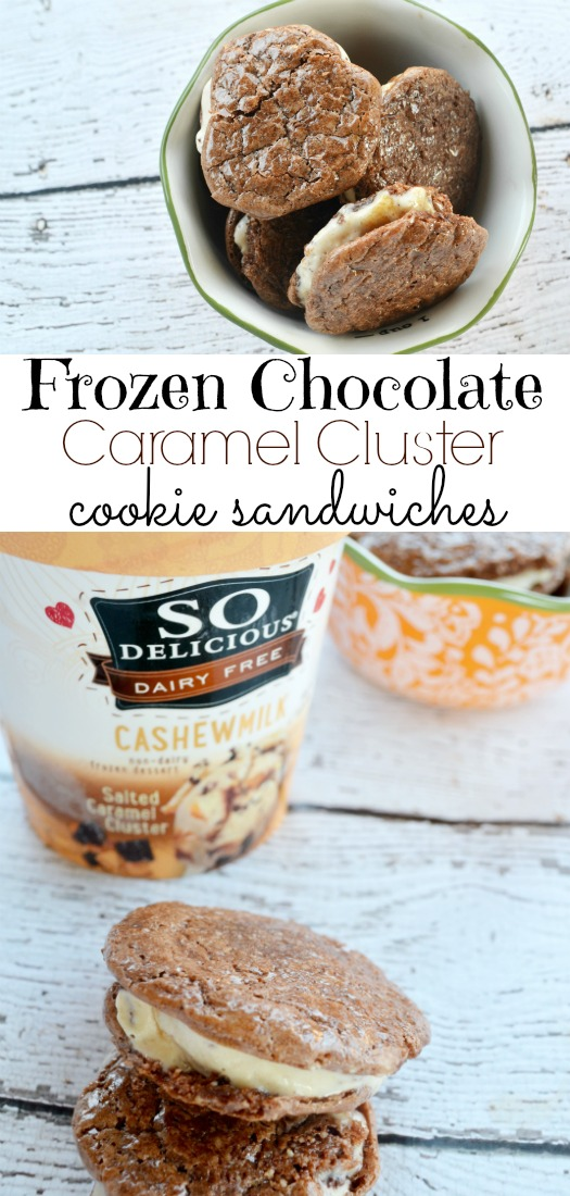 Frozen Chocolate Caramel Cluster Cookie Sandwiches #ad @Walmart #DairyFree4All