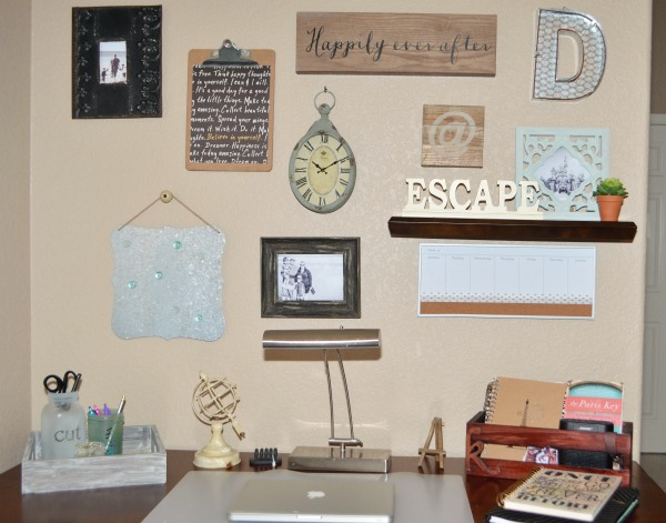 Desk Gallery Wall + Plus learn how to make DIY Frosted Mason Jar Desk Organizer