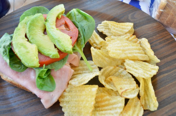 California Open Faced Sandwich with delicious @PepperidgeFarm bread | Avocado, Ham, Tomato, and Spinach. #ad #SandwichWithTheBest