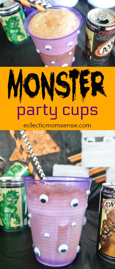 Starring in your Halloween get together wickedly fun Monster Cans and DIY monster cups!!!