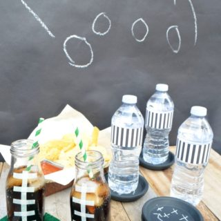 It's game time! Checkout these easy football coasters and DIY drink containers. #ad #HandsOnCrafty