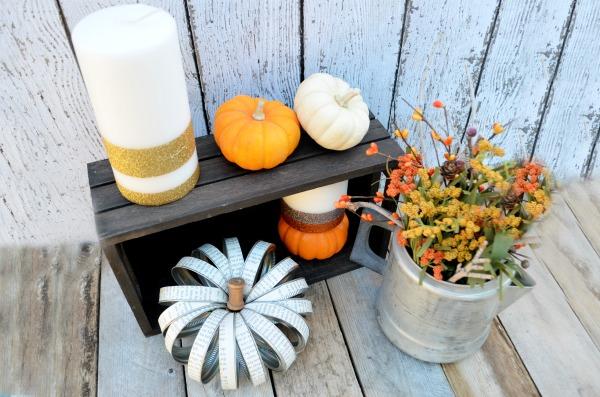 Mason Jar Lid Pumpkin + Glitter Pillar Candles