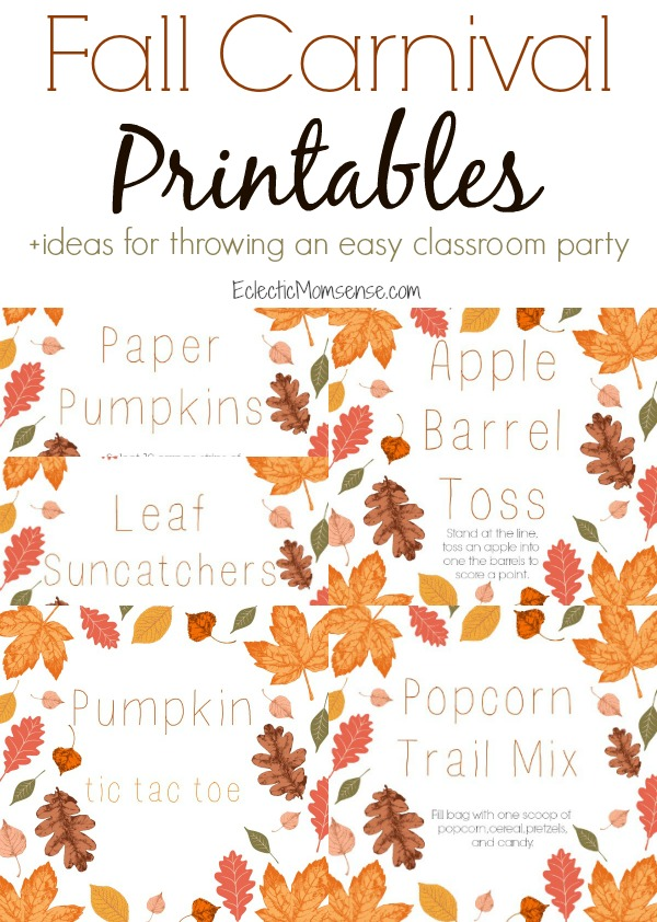 Fall Carnival Printables | Throw a fun fall classroom party with these fun harvest theme ideas.