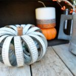 Mason Jar Lid Pumpkin + Glittery Pillar Candles