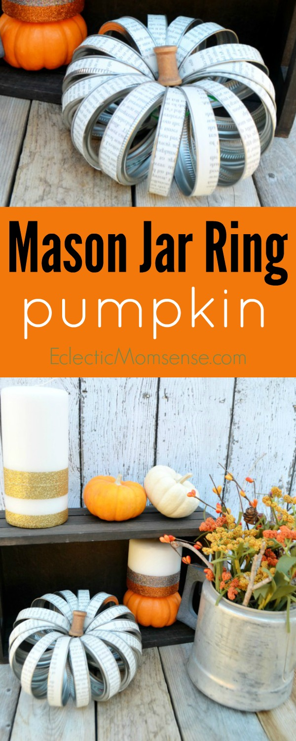 Mason Jar Ring Pumpkin + Glitter Pillar Candles  | Easy fall craft.  Glam it up with a little paper, tape, or paint.