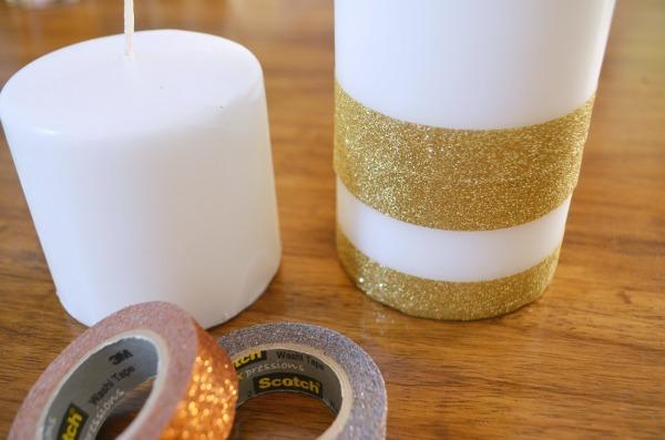 Glitter Pillar Candles