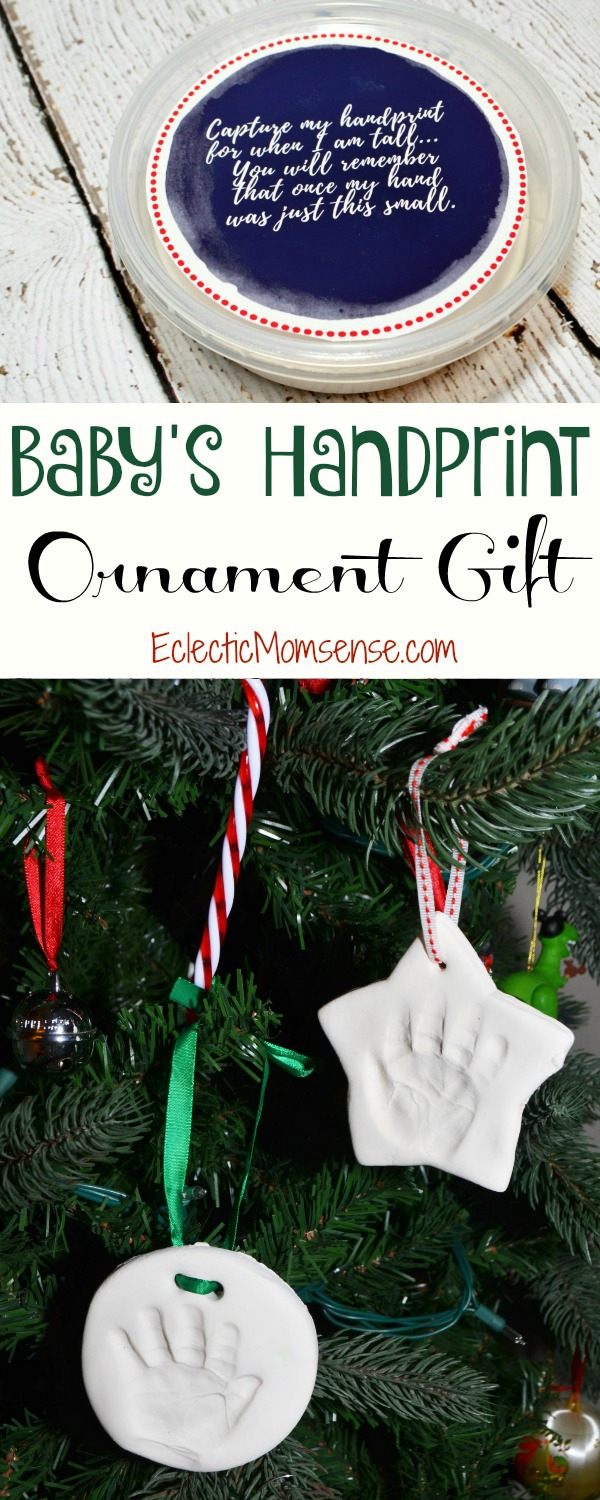 Holiday keepsakes for baby's first Christmas- handprint ornament kit and DIY stocking.