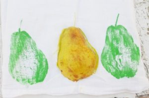 Hand-painted Kitchen Towels - pear stamp