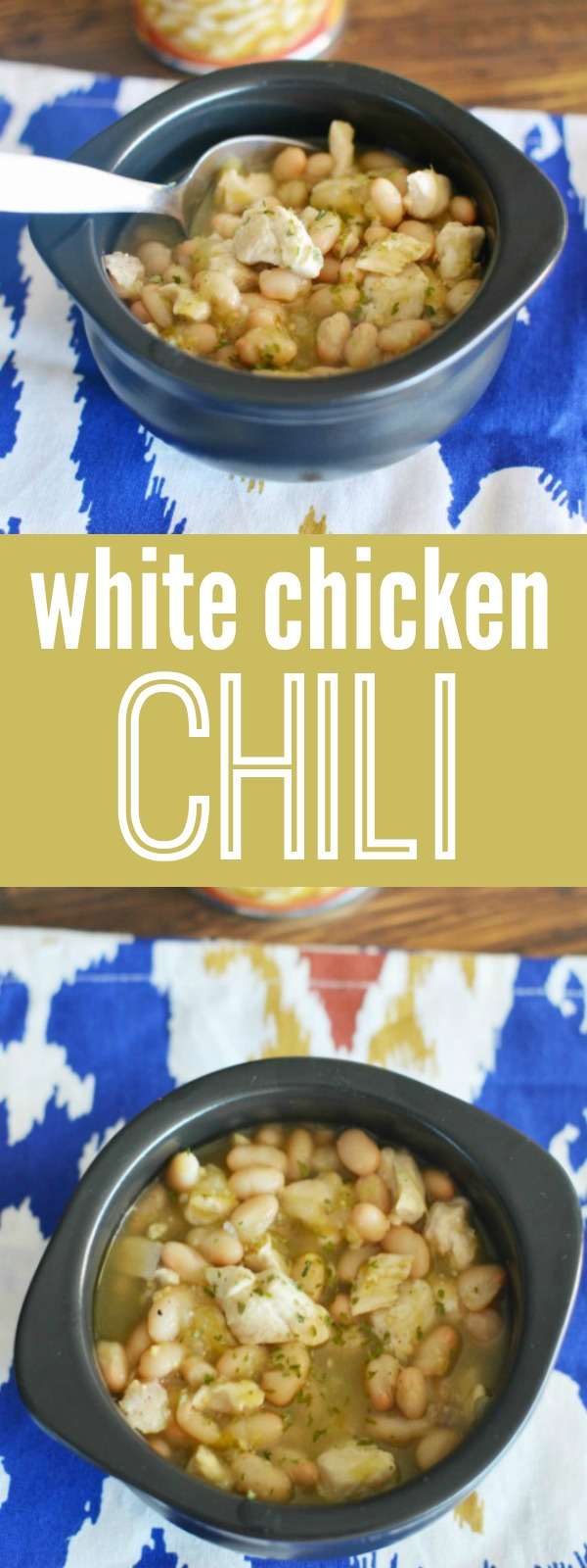 White Chicken Chili recipe made easy with just 6 ingredients.  Super simple weeknight meal.  Batch cook and freeze!