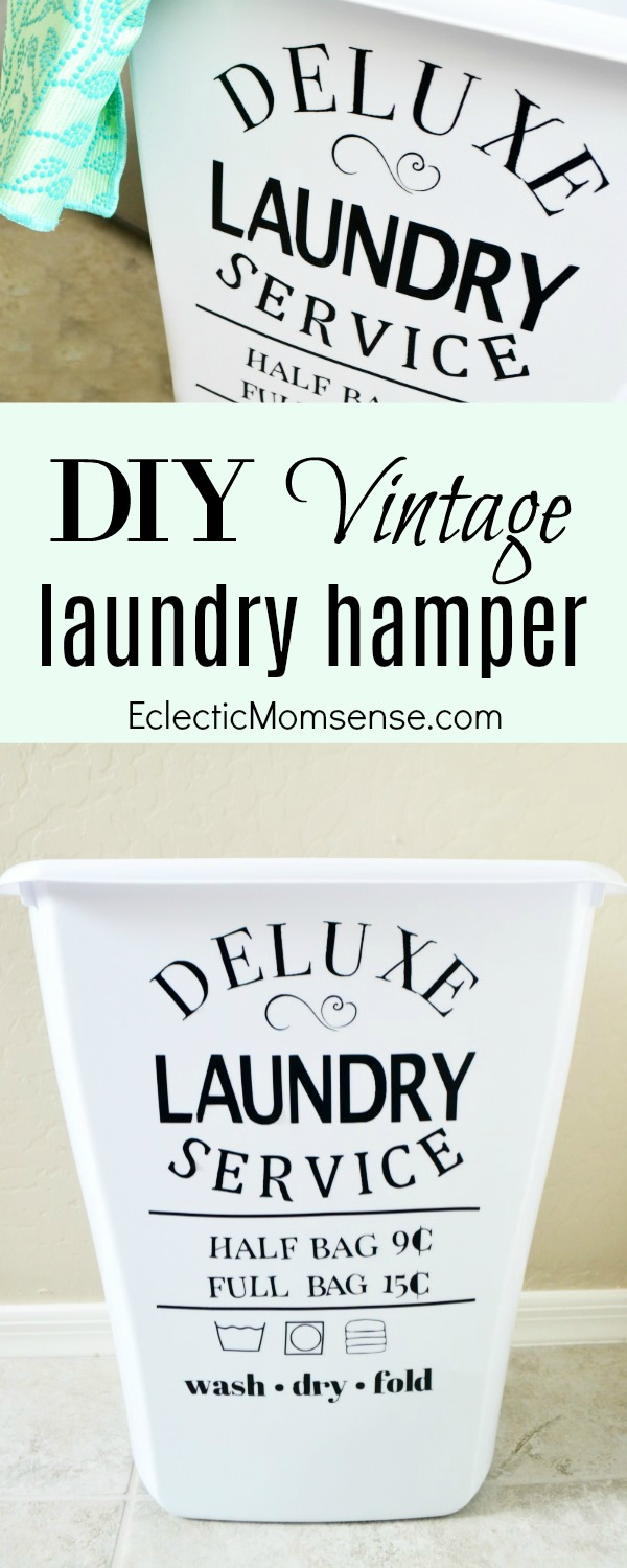 Vintage Laundry Hamper Decal - Give your laundry basket a vintage inspired makeover.