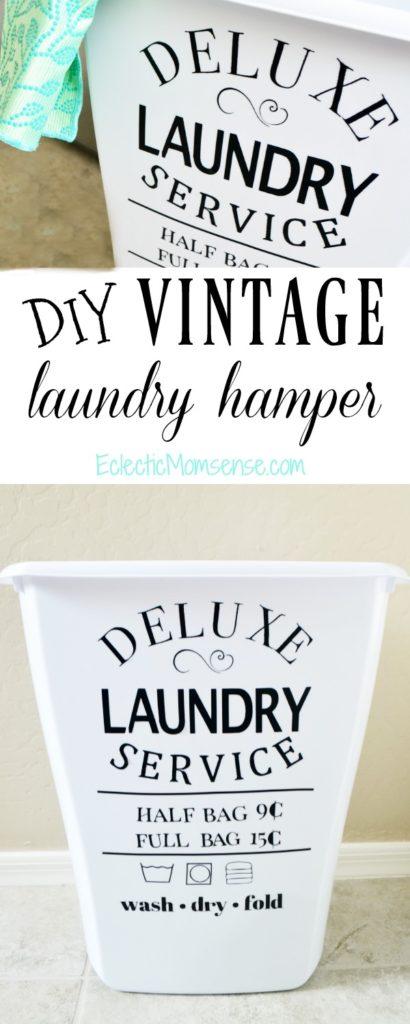 Vintage Laundry Hamper Decal
