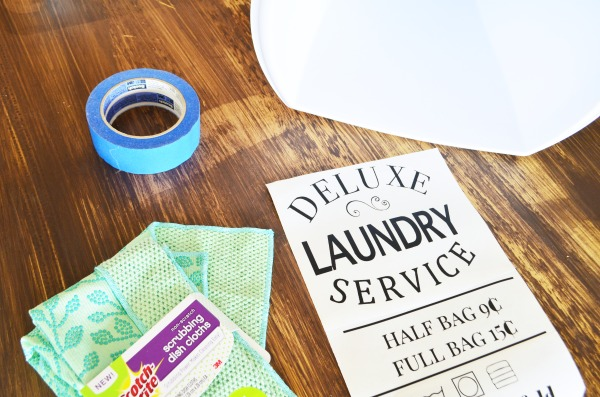 Vintage Laundry Hamper Decal - directions
