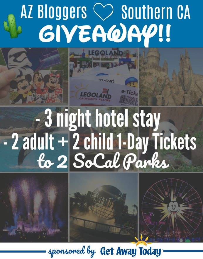 AZ bloggers love Southern California Giveaway with Get Away Today. Win a fun family trip to 2 parks in Southern California. Giveaway runs 9/28/2017 to 10/3/2017.