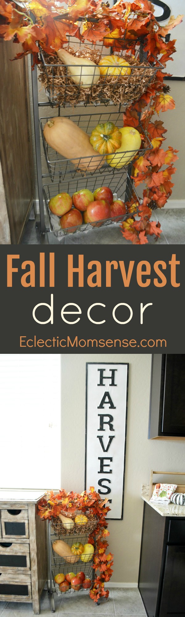 Fall Harvest Decor | Store beautifully with a tiered fruit and veggie basket and fall colors.