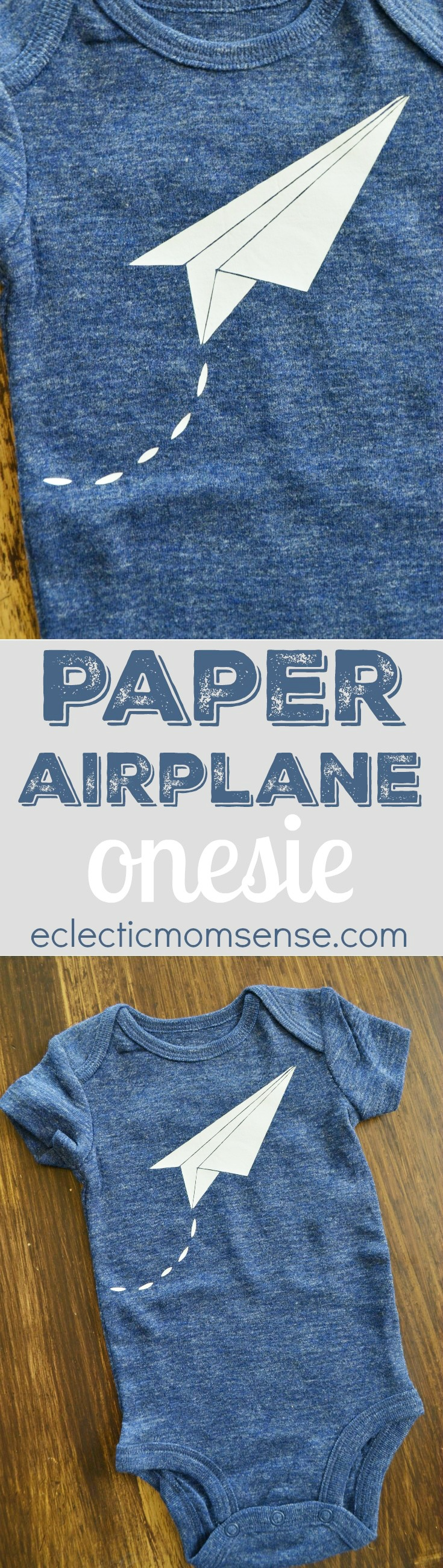 DIY Paper Airplane Design | Heat Transfer Vinyl Onesie- makes a great baby shower gift for the wee aviator.  :-)