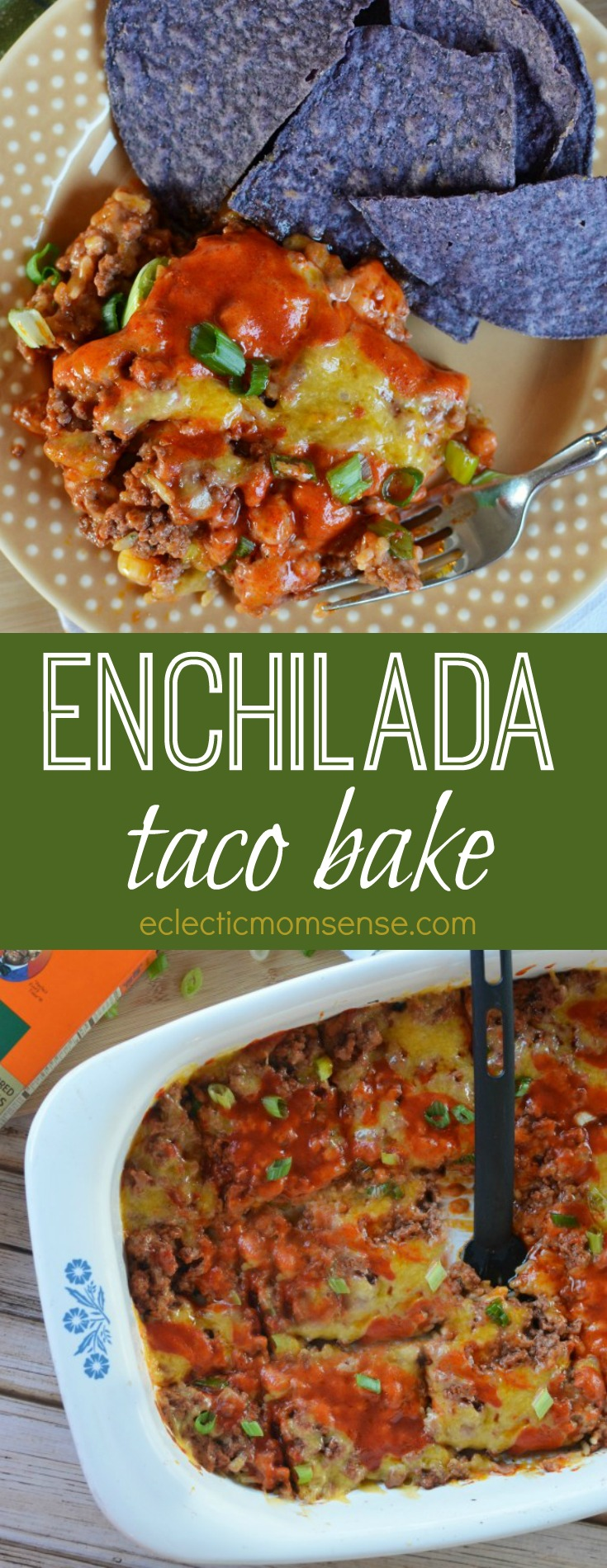 A simple layered casserole dish loaded with flavor | Enchilada Taco Bake | #recipe