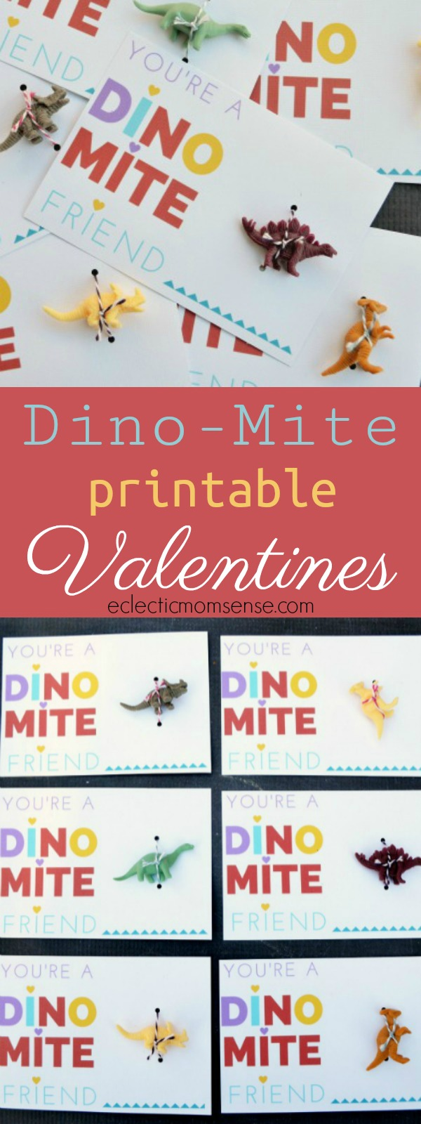 printable dino-mite friend Valentine card