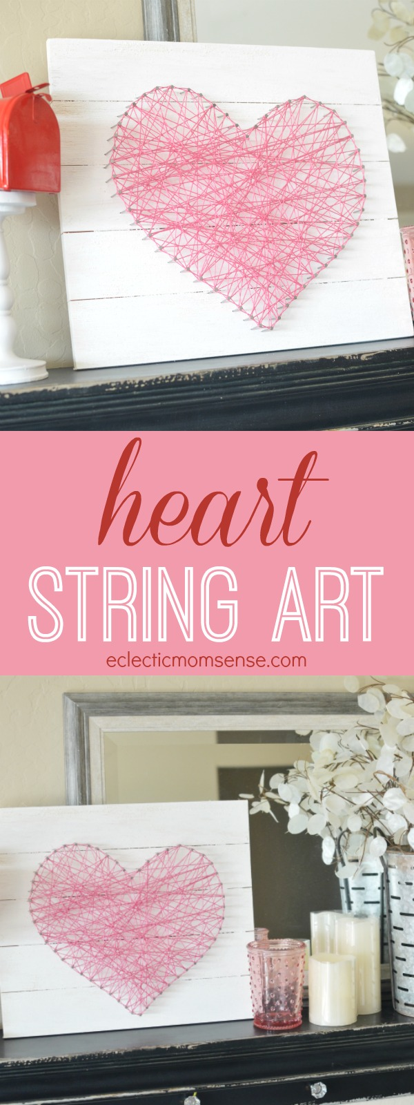 Learn how to make an easy DIY heart string art.  Just some board, string, and nails.  So easy to assemble.