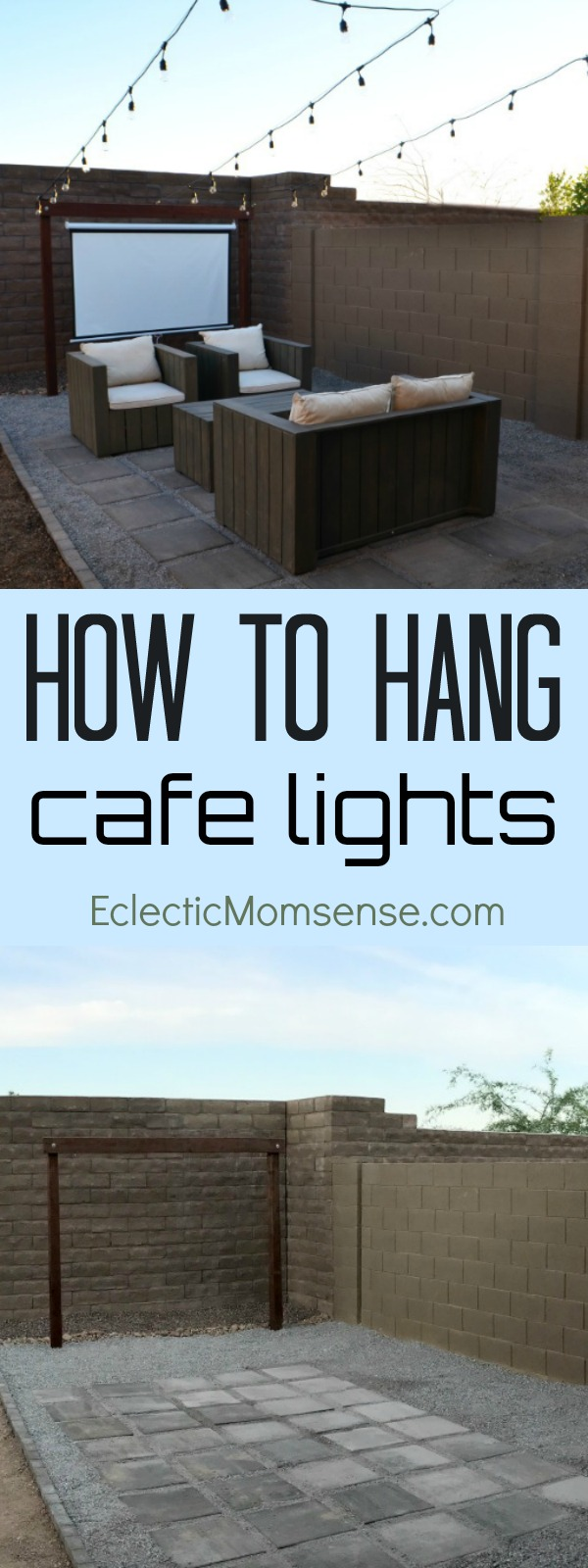 Outdoor Entertaining- Setting up a space for parties and How to Hang Cafe Lights.