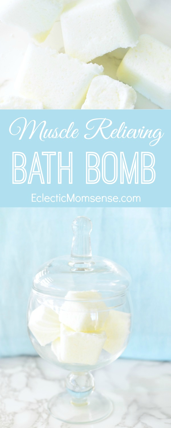 Fizzy Muscle Relieving Bath Bombs.  Soothing bath bomb recipe for tired and aching muscles.