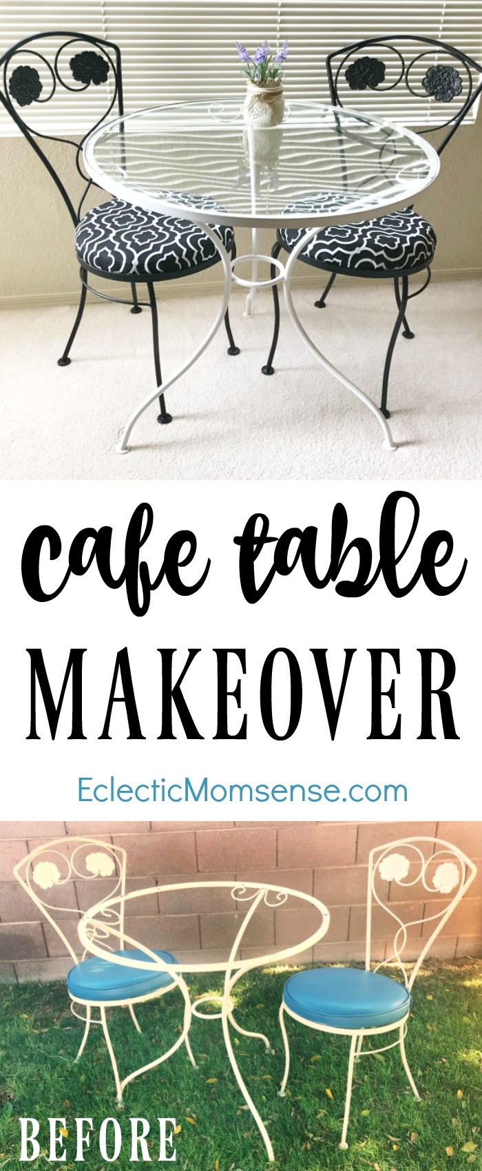 Cafe Table Makeover- From old chipped paint to bright and stylish cafe table set in less than a day. Come checkout the tips for conquering your furniture makeover with ease. #ad @HomeRightTips