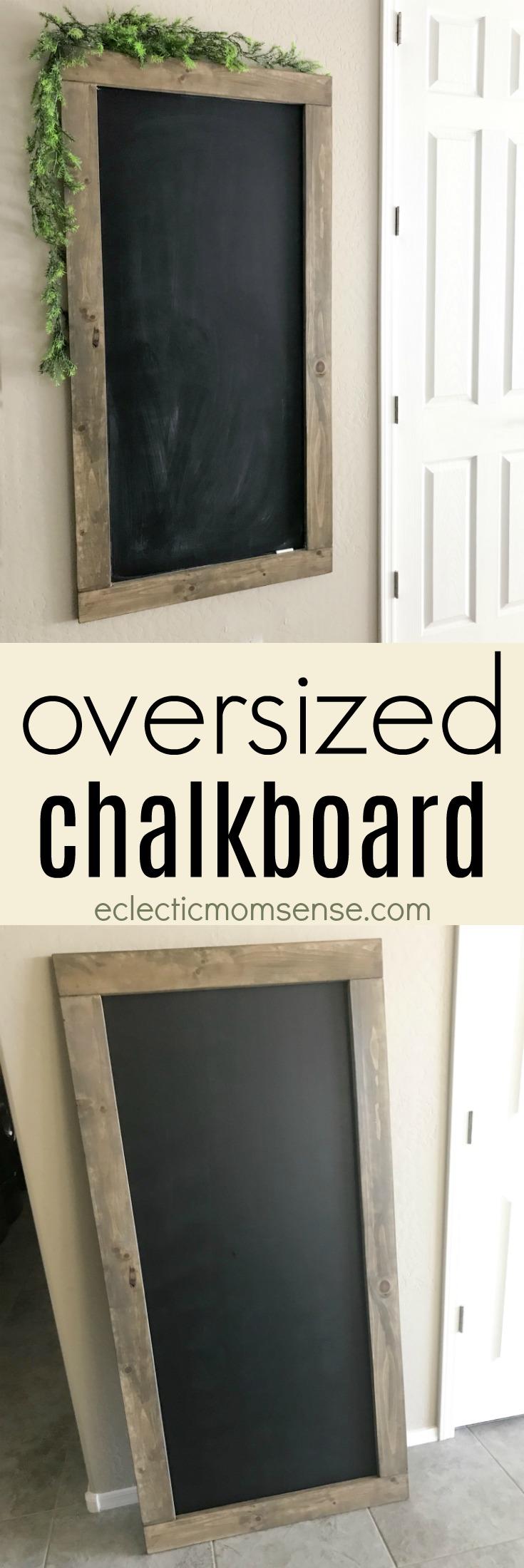 Oversized Rustic Chalkboard Tutorial   Big statement piece for kitchen. Great place to keep lists, menu board, or add seasonal decor and chal kart designs. #chalkboard #chalkart