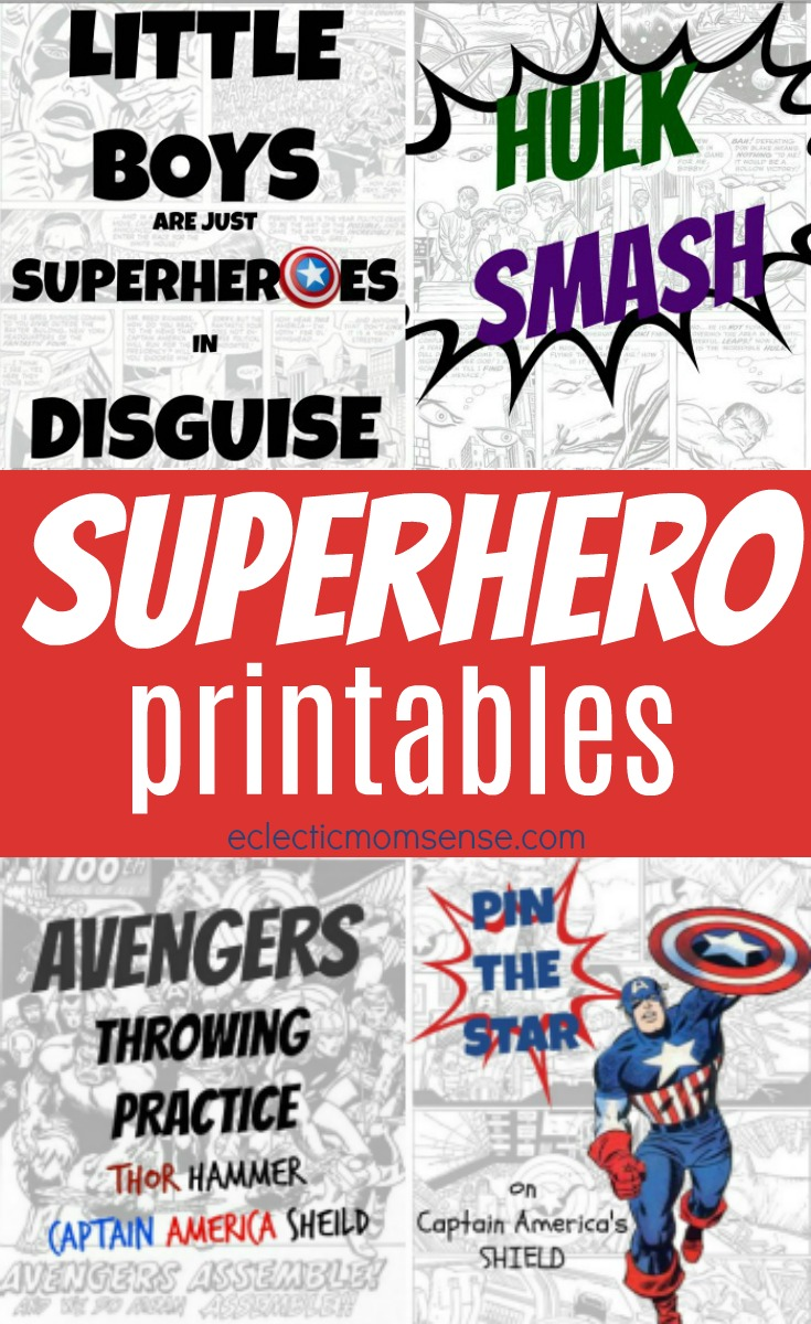 4 FREE Superhero Printables & Party Game Ideas | These superhero minute to win it games are the absolute best superhero party games for kids or for adults! PLUS free printable signs/decor.